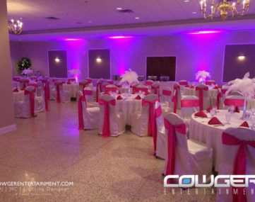 colored wall accent lights accentuate wedding reception dining tables