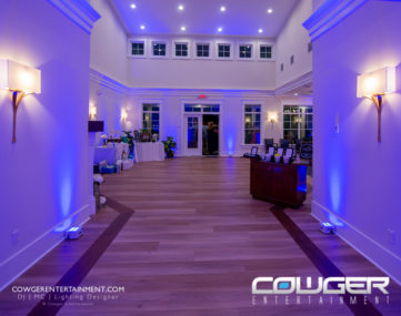 colorful wall and mood lighting for wedding reception entrance foyer