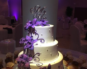 spolight illumitates multi-tiered wedding cake surrounded by cupcakes on table