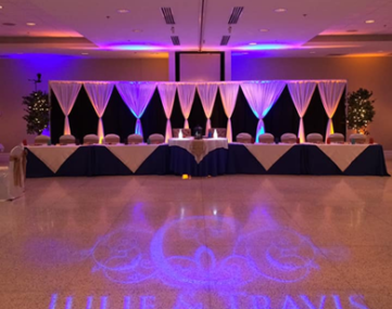 wedding couple, dates, and theme message projected in front of bridal party table