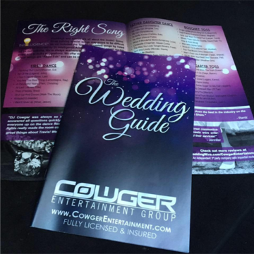 Wedding guide brochure from COWGER Entertainment Group